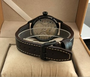 Image 5 - 44mm  GEERVO black dial 17 jewels Asian 6497/3600 Mechanical Hand Wind movement mens watch PVD case Mechanical watch gr197a
