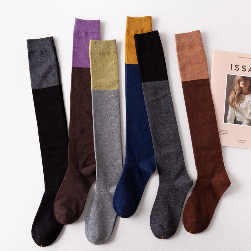 High Tube Female Trend Color Matching Over-Knee Socks Autumn And Winter Japanese Cute College Style Stitching Cotton Stockings