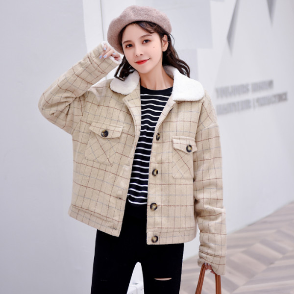 MUMUZI Woolen female autumn and winter parkas lamb cashmere thickening plus cashmere jackets ladies woolen coat short coat