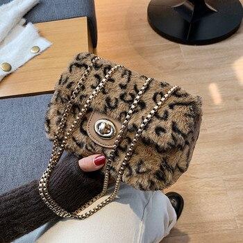 Contrast Color Square Crossbody Bag 2020 Fashion New Quality Soft Plush Women's Designer Handbag Leopard Chain Messenger Bag