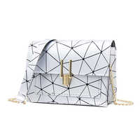 New Women Small Flap Shoulder Crossbody Bags Teenage Girls PU Leather Geometric Print Messenger Fashion Chain Korean Satchel