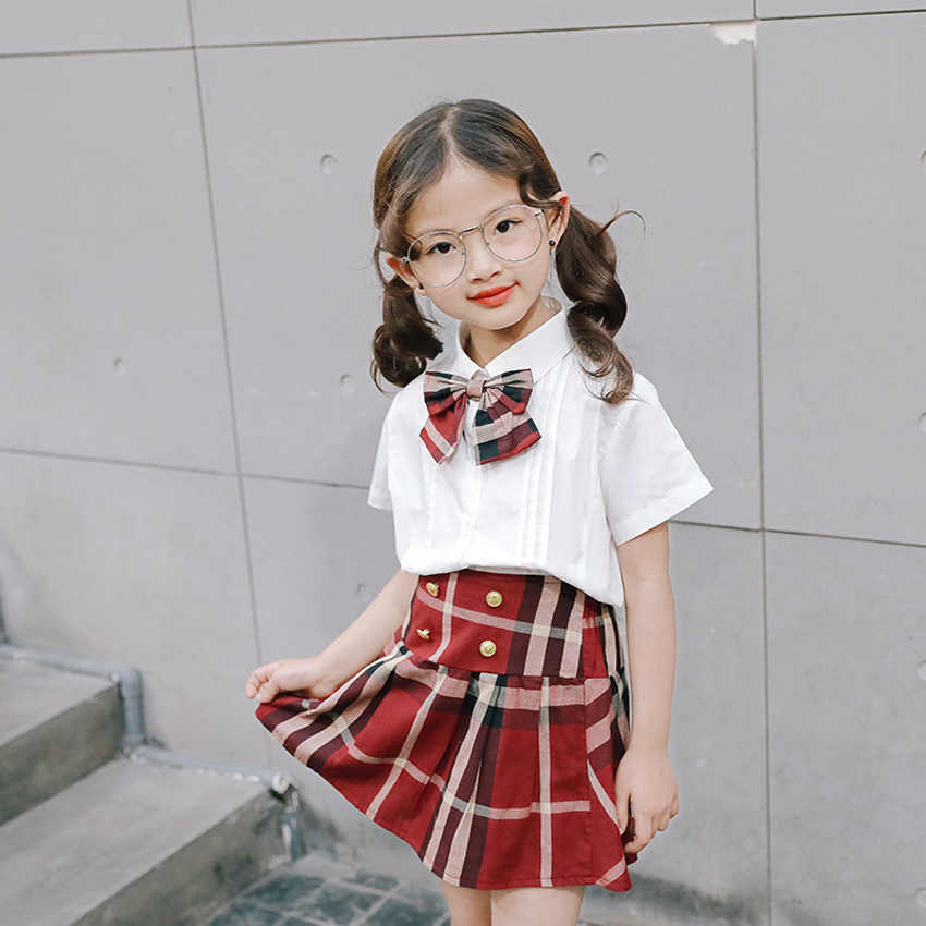 90-130cm plaid skirt cute japanese korean version unisex kids boys girls student uniform choir stage wear dance costumes