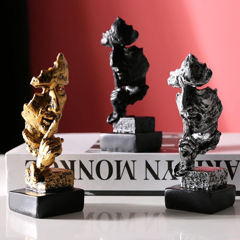Miniature Model Figurines Resin Sculpture Silence Is Gold Home Decoration Crafts Miniature Thinker Model Artware Desktop Decors