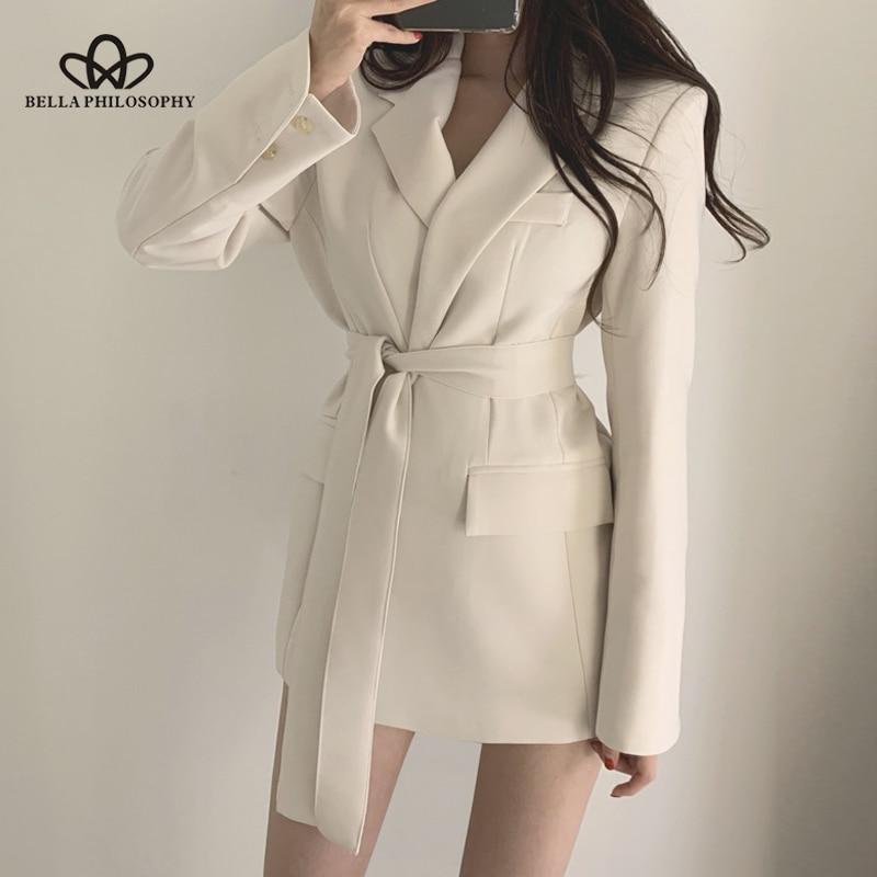 Bella Philosophy Women Autumn Blazer Dress Female 2019 Long Sleeve Sashes Short Dress Slim Business Chic Blazer Jacket