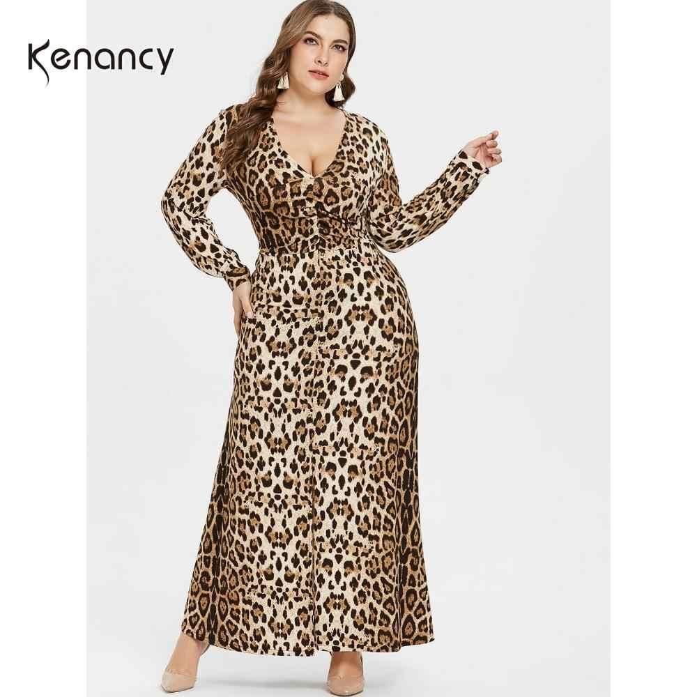 the sale of shoes best sale to buy Kenancy Plus Size Women Dress Leopard Print V Neck Long Sleeve ...
