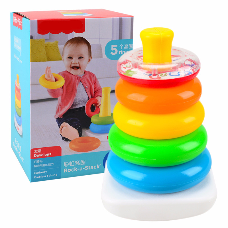 New Rainbow Circle Folding Music Toy Baby Early Education Rings Folding Toys For Gift