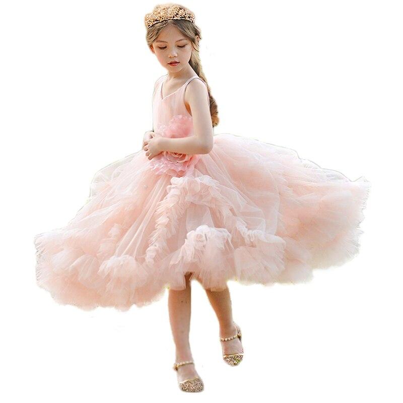 Розовые Бальные платья принцессы, платье пачка на свадьбу для девочек, праздничные платья с цветами для девочек, платье без рукавов на выпус