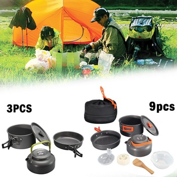 3/9pcs Cookware Outdoor Cookware Set Camping Tableware Cooking Set Travel Tableware Cutlery Utensils Hiking Picnic Set