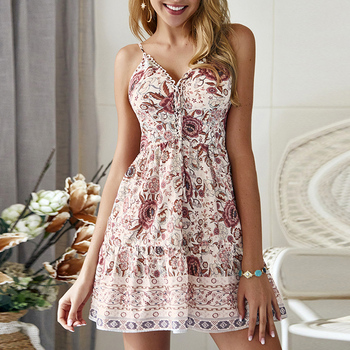 2020 Spring Summer New Bohemian V-neck Camisole Dress Casual Sexy Sleeveless Flora Print A-Line Dress Beach Mini Dress D30