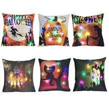 Animal Cotton Linen Square Printed Case Cushion Cover LED Lights Decorative Throw Pillow Pillowcase for Sofa Chair Decoration 45(China)