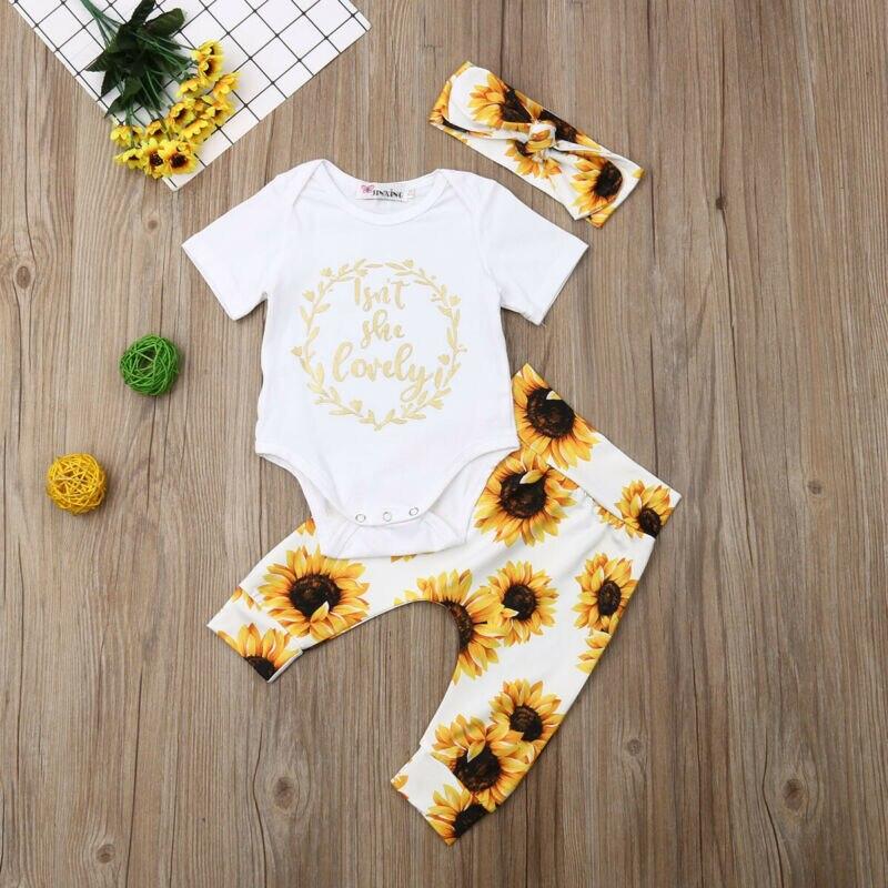 Newborn Baby Girl 3 Pieces Set Short Sleeve Bodysuit Floral Pant Headband Suit Infant Girl Clothing