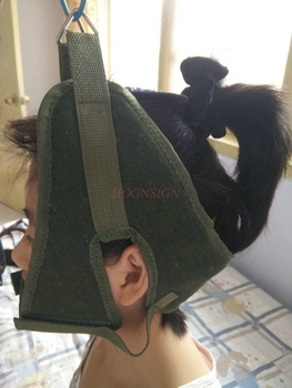 Trakcja szyjna zielone płótno trakcja szyjna pas Sling Tractor rozciągliwe na krzesło pogrubienie kaptur pielęgnacja skóry szyi narzędzie Home Medical tanie i dobre opinie HOGNSIGN neck stretching devices