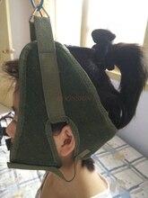 Trazione cervicale tela verde trazione cervicale cintura imbracatura trattore sedia elasticizzata cappuccio ispessimento strumento per la cura del collo casa medica