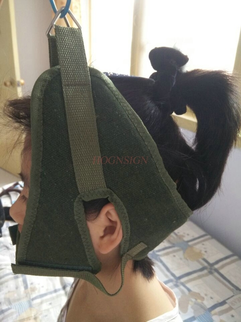 cervical traction Green Canvas Cervical Traction Belt Sling Tractor Stretch Chair Thickening Hood Neck Care Tool Home Medical