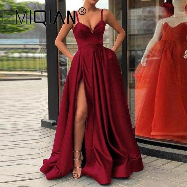 Champagne Muslim Evening Dresses, High Slit Spaghetti Straps Sweetheart A-Line Satin Long Prom Dress 4