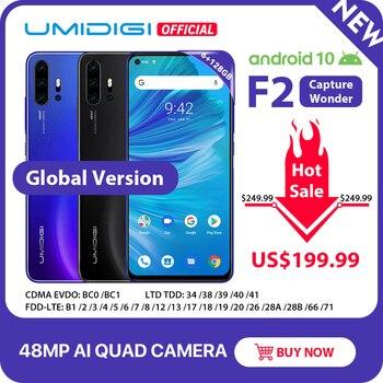 Перейти на Алиэкспресс и купить UMIDIGI F2, Android 10, глобальная версия, 6,53 дюймFHD + 6 ГБ 128 ГБ, 48-мегапиксельная AI четырехъядерная камера, 32-мегапиксельная селфи Helio P70 сотовый телефон, 5150 ...