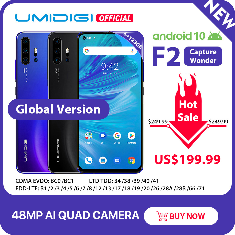 "IN STOCK UMIDIGI F2 Android 10 Global Version 6.53""FHD+6GB 128GB 48MP AI Quad Camera 32MP Selfie Helio P70 Cellphone 5150mAh NFC(China)"
