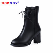 Koznoy Women Mid Calf Boots Dropshipping Lace Ankel Strap High Heel Boot Warm Fur Shoes for Autumn Winter Botas Women Footwear цена