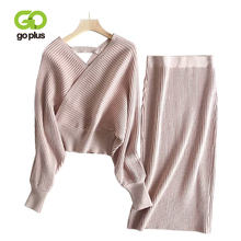 GOPLUS 2 Piece Set Women Autumn Winter Casual Knitted V-Neck Full Sleeve Sweater Pullovers Elastic Waist Skirts Womens C8084
