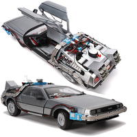 1/18 Scale Alloy Car Diecast Model Part 3 Time Machine DeLorean Vehicle Metal Toy Welly Back To The Future F Kid Children Gifts