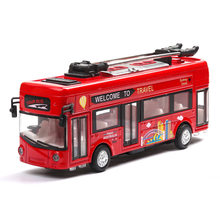 1:36 Diecast Car Bus Model Alloy Tram Retro Simulation Car Model Bus Sight Seeing City Travel Speelgoed Auto Toys for Children(China)