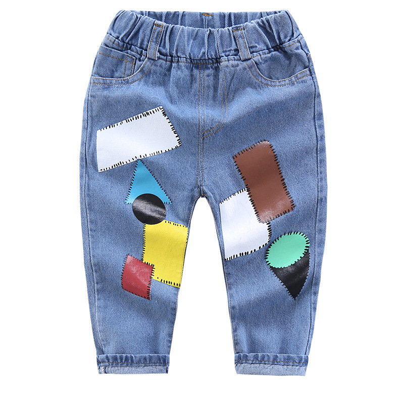 2021 Spring Boys Pants Print Pattern Trousers Girls Cartoon Ripped Pant Children Clothing Kids Clothes Baby Girl Birthday Jeans 5