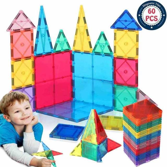 60pcs magnetic blocks Children s Intellectual Magnetic Film Building Blocks Multi Type Fun Toys Box Children