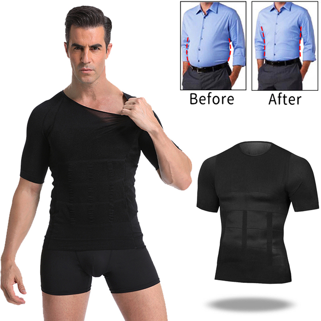 Men Body Toning T-Shirt Body Shaper Corrective Posture Shirt Slimming Belt Belly Abdomen Fat Burning Compression Corset 5