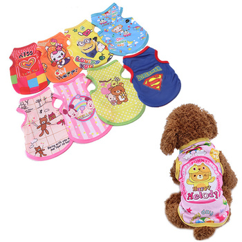 cartoon pet dog clothes cat dog t shirt clothing for dogs costume summer cat pet clothes dogs t shirt small pet shirt Dog Clothes Summer Pet Shirts for Dogs Costume Cat Clothing Cartoon Dog Vest Clothes for Dogs T-Shirt Cotton Small Pet Supplies