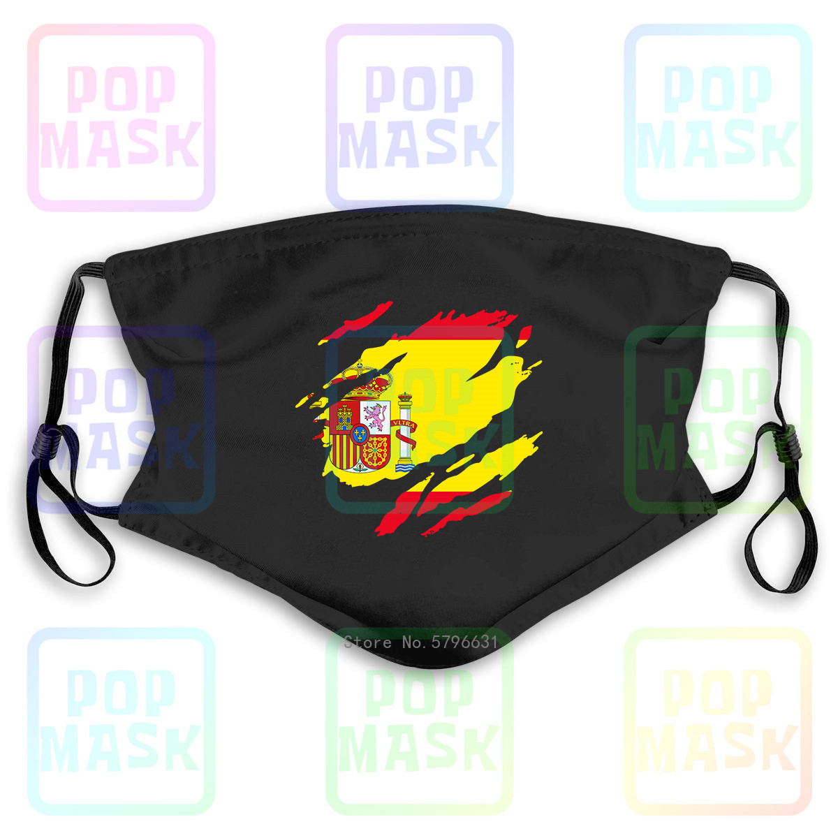 Anti Pollution Mask Mens Torn Spain Flag Spanish Madrid Country National Football Replaceable Filter Anti-PM2.5