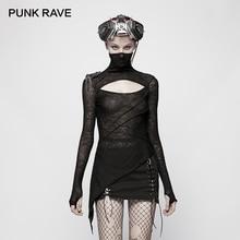 Панк рейв Новая черная тонкая панк Женская трикотажная футболка модная темная Красивая маска стильные футболки полый дизайн грудь Готический Топ