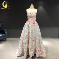 Rhine Real picture Sexy strapless embroidery beads dress women evening dress long formal dresses