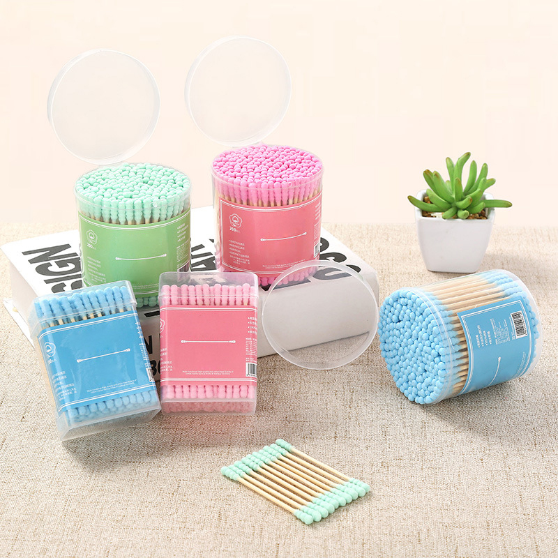 200pcs/Lot Disposable Cotton Swabs Candy Color Soft Thread Dual-head Stick Makeup Tools Bamboo Handle Personal Hygiene Care Gift