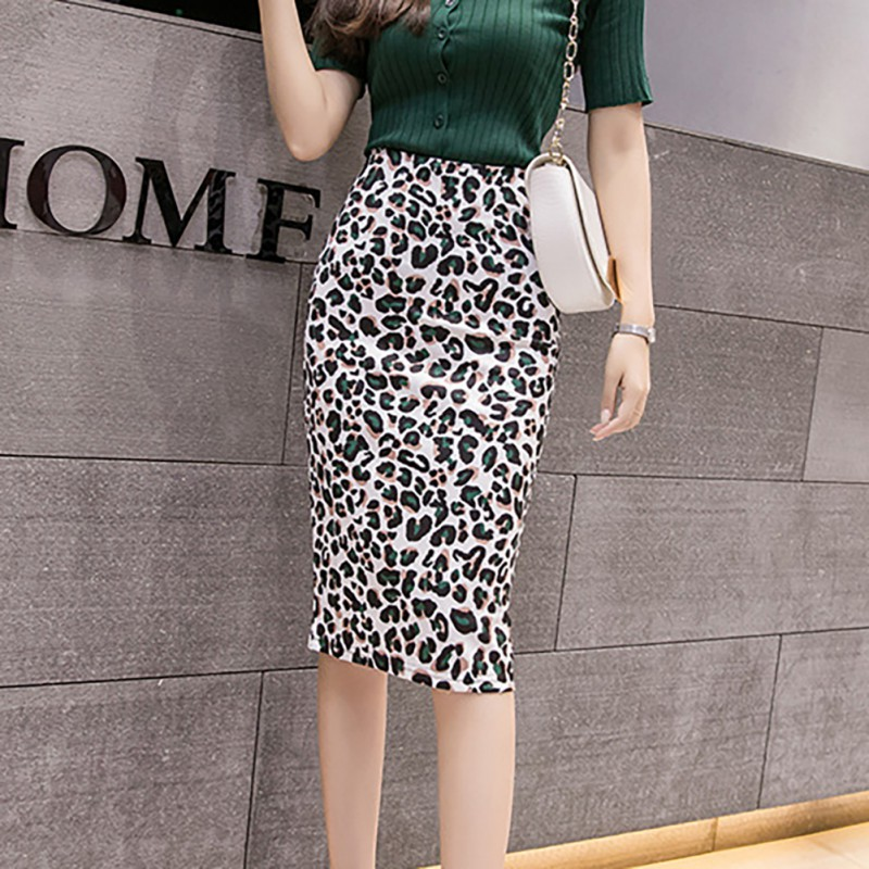 Sexy amp Club Slit Skirt Fashion Trend Leopard Print High Waist Sexy Slim Women 39 s Bodycon	Pencil Mid Calf Female Skirt in Skirts from Women 39 s Clothing