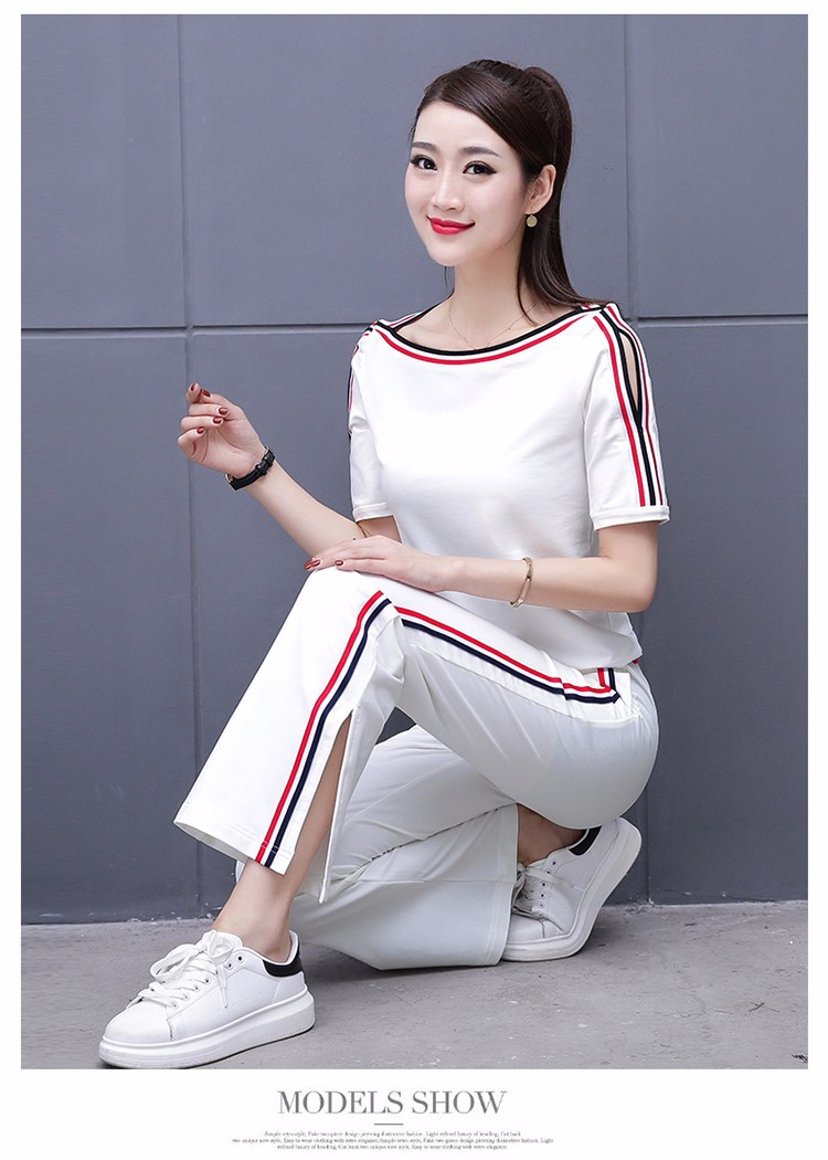 Casual Sports WOMEN'S Suit Summer 2019 Korean-style Loose And Plus-sized WOMEN'S Dress Pure Cotton Short Sleeve T-shirt Trendy T