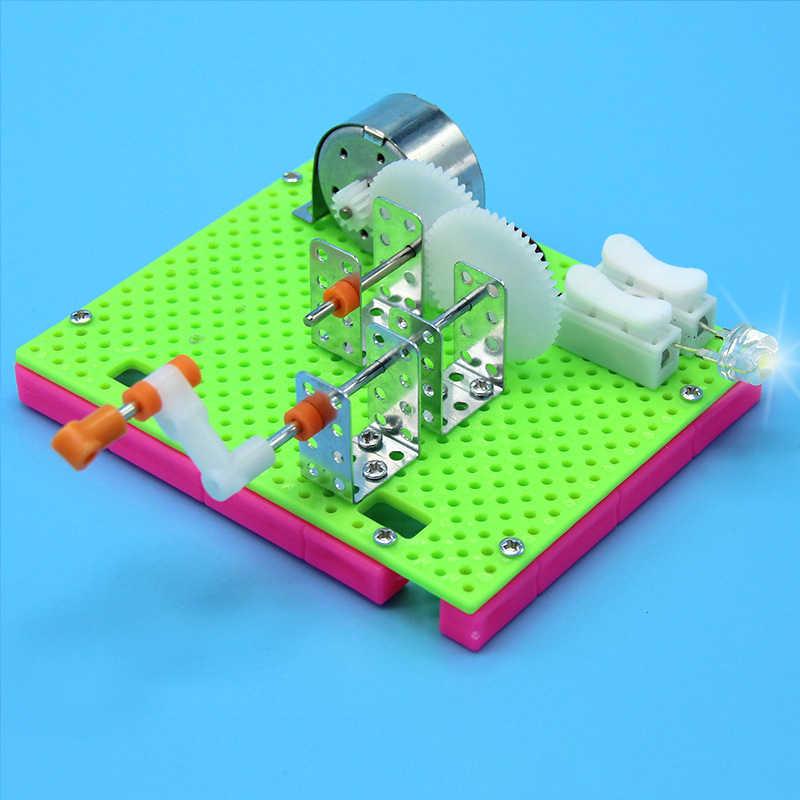 1Pcs Lucu Ilmu Fisik Percobaan Kecil Penemuan Mainan Pendidikan Diy Tangan Engkol Generator Model Anak Belajar Mainan