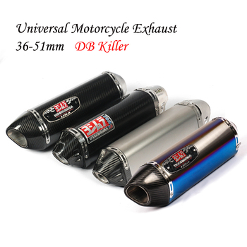 Universal Motorcycle Yoshimura Exhaust Pipe Escape Modified Moto Carbon Fiber Muffler DB Killer For CBR500R Ninja 400 R3 F650GS alconstar stainless steel motorcycle middle exhaust connect mid link pipe exhaust with db killer for bmw f650gs f700gs f800gs