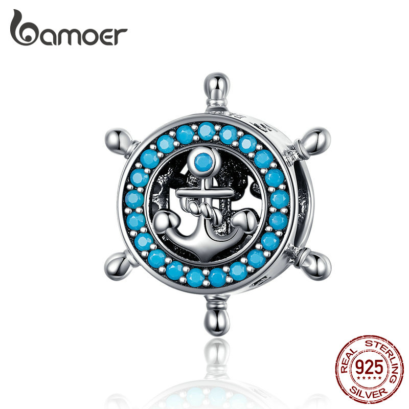 BAMOER Round Metal Beads For Women Jewelry Making Design Rudder Charms For Charm Bracelet Bangle DIY Jewelry SCC1200