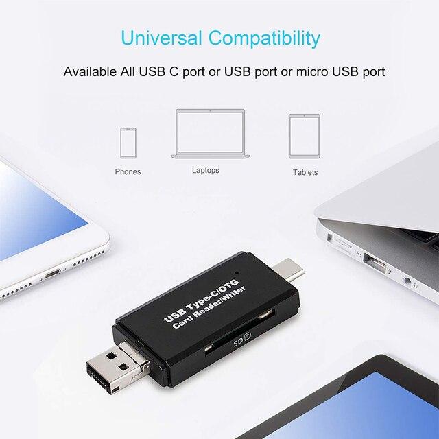 SD Card Reader USB C Card Reader 3 In 1 USB 2.0 TF/Mirco SD Smart Memory Card Reader Type C OTG Flash Drive Cardreader Adapter 2