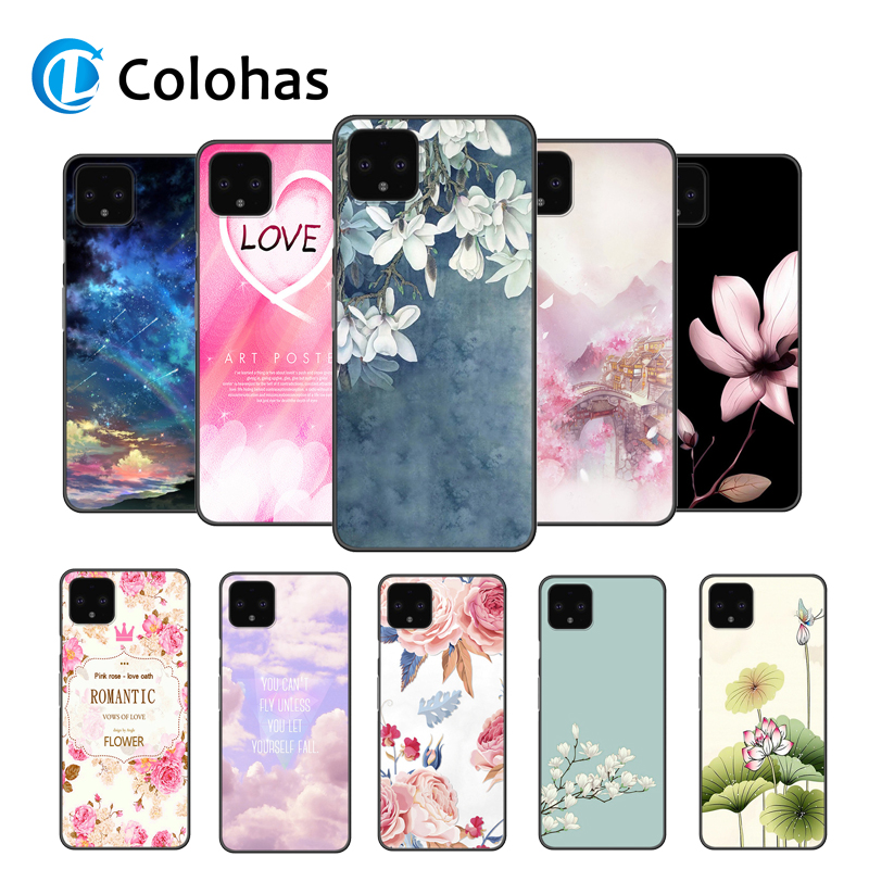 For Google Pixel 4 XL Flower Case Black Bumper Soft Silicone Cover For Google Pixel 2 3 3A XL 4XL 3XL 2XL Phone Back Cases Cover(China)