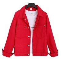 Denim Jacket 2019 Autumn Women Jacket Harajuku Fashion Slim Basic Coat Female Vintage Jean Jackets Casual Denim Jacket Red Black