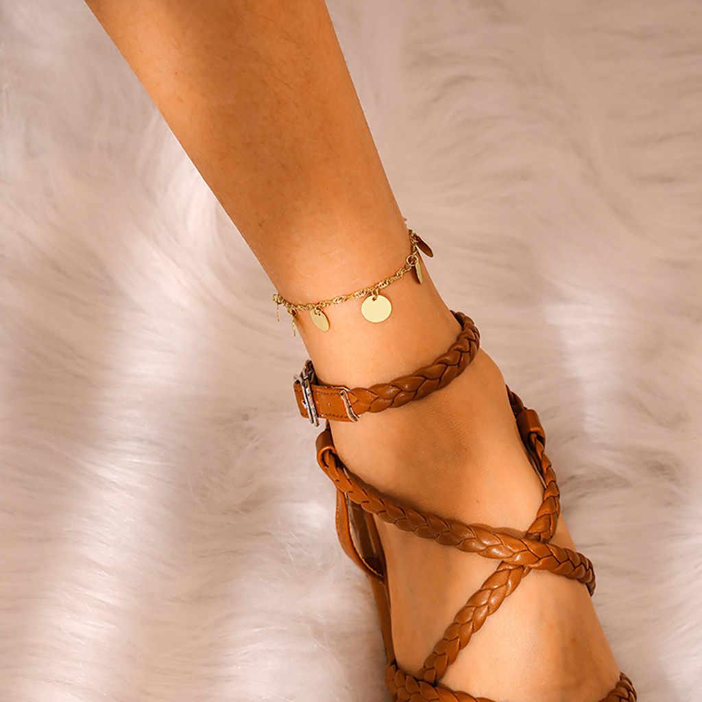 Браслеты на ногу, Ретро стиль, простая цепочка, круглый кусок, блестки, подвеска на ногу, цепочка на ногу, босиком, крючком, браслеты, женские аксессуары