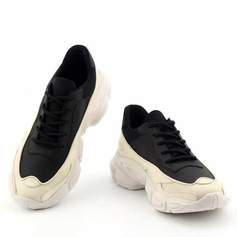 Desainer Sepatu Pria Kulit Asli Sepatu Kasual 2020 Musim Semi Baru Renda Hitam Putih Mewah Pelatih Tenis Masculino Adulto