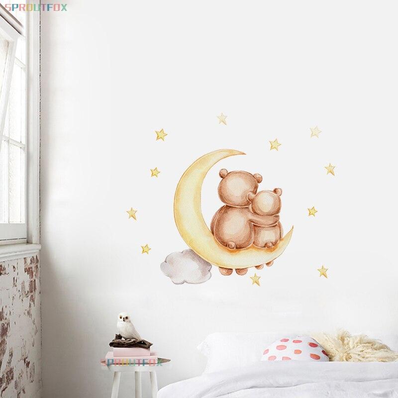 Настенные Стикеры для детской комнаты, светлый медведь с мамой, Детские Стикеры, луна, звезды, украшение для детской комнаты в скандинавском...
