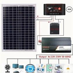 Новая солнечная панель + 12 В контроллер + 1000 Вт Инвертор 18 в 20 Вт двойной USB контроллер солнечного зарядного устройства для наружного и домашн...