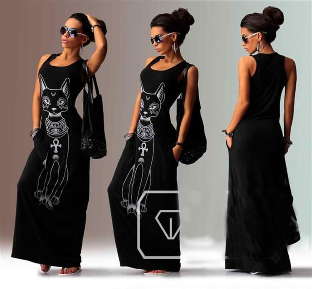 קיץ נשים ארוך מקסי שמלה מזדמן חתול הדפסת Boho חוף שמלה סקסי ערב מסיבת Bodycon שמלת Vestidos רגוס Mujer XXXL