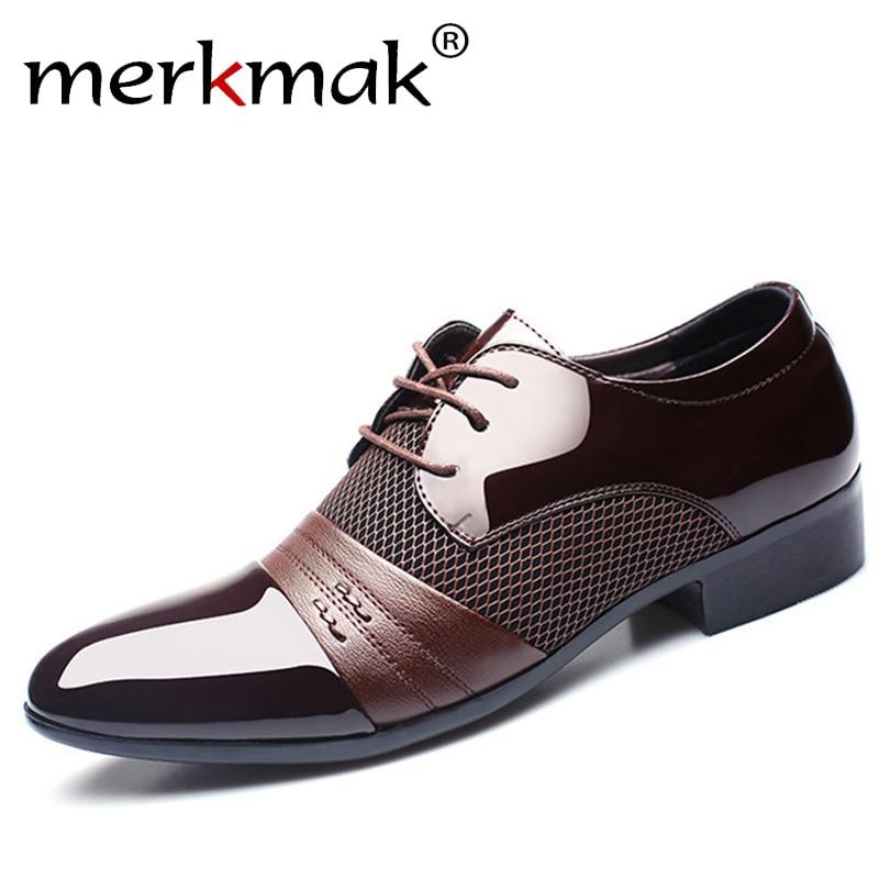 Merkmak 2020 Classical Men Dress Flat Shoes Luxury Men's Business Oxfords Casual Shoe Black / Brown/ Red Leather Derby Shoes