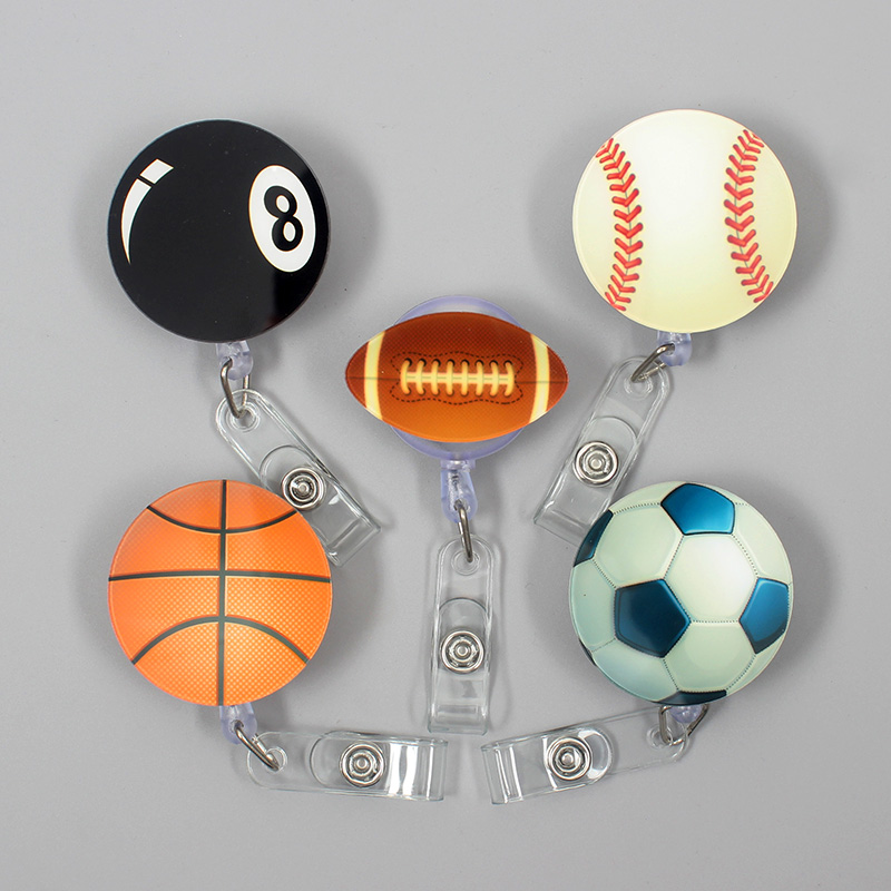 The Sport Football Style Clown Retractable Creative Basketball Badge Card Holder Reel Nurse Exhibition Enfermera Name Card Chest