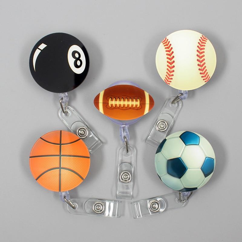 The Sport Football Style Clown Retractable Creative Basketball Badge Card Holder Reel Nurse Exhibition Enfermera Name Card Chest