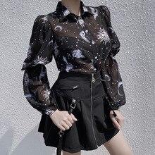 Rosetic Sexy Chiffon Blouse Women Tops Spring Gothic Moon Star Sun Print Fashion Ladies Shi